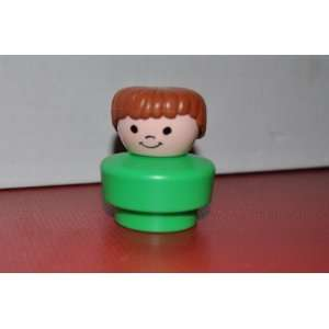 Vintage Little People Boy Brown Hair, Green Shirt 1990 Fat