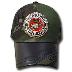 UNITED STATES MARINE SEAL GREEN CAMOUFLAGE CAP HAT ADJ: