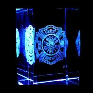 Fire Department Emblem 3D Laser Etched Crystal includes Two Separate