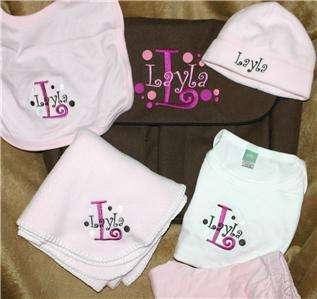 Personalized Baby Gift Blanket, Hat, Bib, outfit set