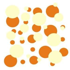 set of 106 Orange and Beige polka dots Vinyl wall lettering