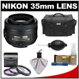 Nikon 35mm f/1.8 G DX AF S Nikkor Lens & Case + 3 UV/FLD/CPL Filters
