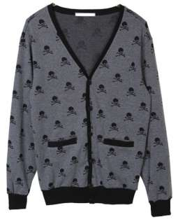 New Skull Knit Cardigan V Neck Charcoal Gray Men Women Unisex G Dragon