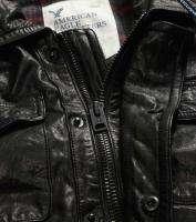 NWT AMERICAN EAGLE MENS LARGE BLACK LEATHER BOMBER JACKET COAT AE L