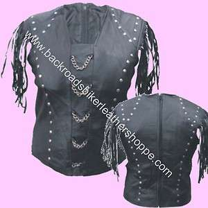 LADIES WOMENS LEATHER SHIRT TOP CHAINS STUDS BIKER CLUB