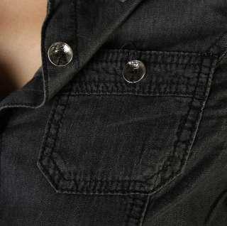 MOGAN Vintage Chambray Denim JEAN SHIRTS BLOUSE w.Button Roll Up Long