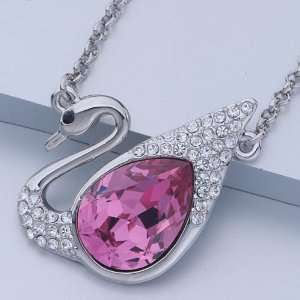 October Birthstone Swarovski Pink Crystal Pendant Necklace Pugster