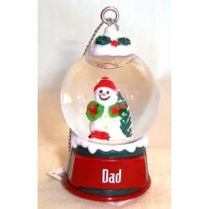 Dad Christmas Snowman Snow Globe Ornament