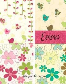 Emma By Northcott Fabric Funky Retro Daisy Flowers Polka Dot Swirls