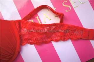 VICTORIAS SECRET ANGELS BY VS LOVE PUSH UP DEMI LACE WING BRA RED 34A