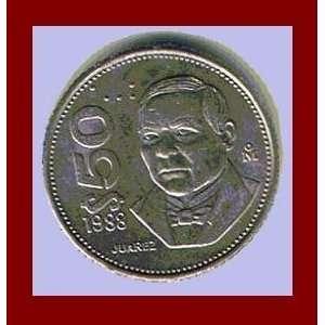MEXICO 1988 50 PESOS COIN   President Benito Perez
