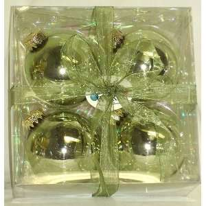 Set of 4 Shiny Green Mist Glass Ball Christmas Ornaments