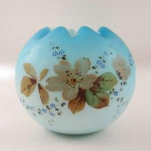 Vintage Hand Painted Blue Cased Glass Satin Finish Rose Bowl