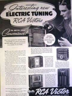 1938 RCA VICTOR   ELECTRIC TUNING RADIOS   FIVE MODELS PRINT AD