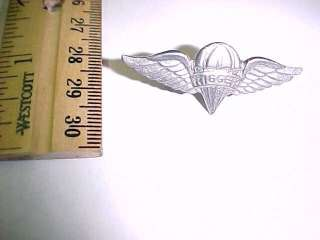 US ARMY PARACHUTE RIGGER WINGS SILVER TONE F/S