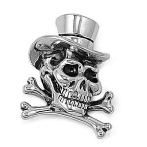 Stainless Steel Pendant   Skull and Cross Bones with Hat Jewelry