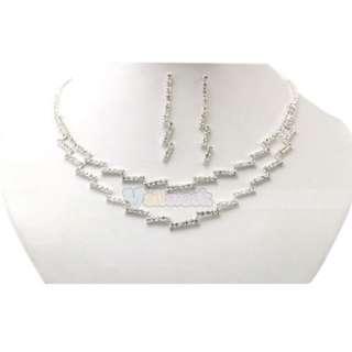 Pretty Bridal Prom Jewelry Auger Rhinestone Silver plate Necklace