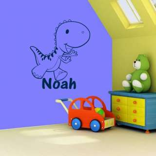 Large Personalized Dinosaur & Name Wall Decal Sticker