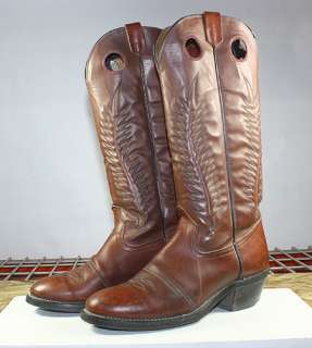 TEXAS BRAND TALL LEATHER BUCKAROO WESTERN/COWBOY BOOTS MENS sz 10 D