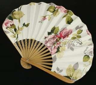 Hand Held Bamboo Silk Folding Fan Wedding Favor #47