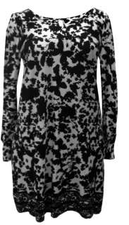 LADIES PLUS SIZE BLACK & WHITE ABSTRACT BUTTERFLY MOTIF DRESS #211