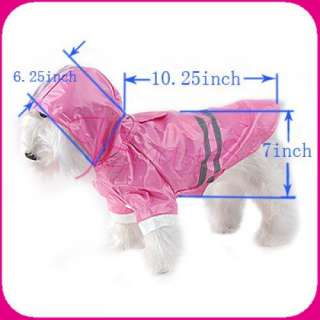 PINK RAINCOAT PET DOG CLOTHING CLOTHES APPAREL #M NEW