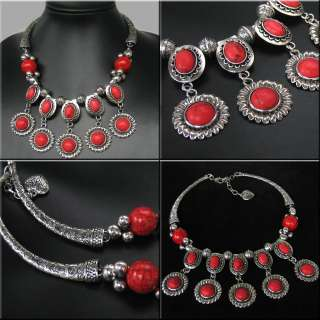 NEW IN STUNNING TIBET STYLE TIBETAN SILVER RED TURQUOISE NECKLACE