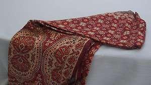 Elegant Brick Red/Gold/Rust Jacquard Paisley Shawl Wrap Scarf Pashmina