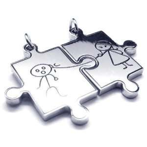 Jigsaw Couples Stainless Steel Pendant Necklace Jewelry