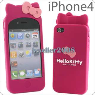 Hello Kitty Double Bow Silicone Soft W/Ear Case Cover For i Phone 4 4G