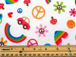 New Retro Look Hearts Rainbows Flowers Peace Signs Beetle Car Flannel