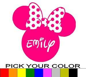 PERSONALIZED 24 MINNIE MOUSE EARS DECAL STICKER DISNEY
