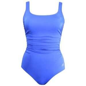 Reebok Womens Waterfitness Solid Shirred Tank Swimsuit