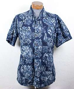 Hawaiian Style Black Camp Shirt Blues Go Fish Portland Oregon Size L