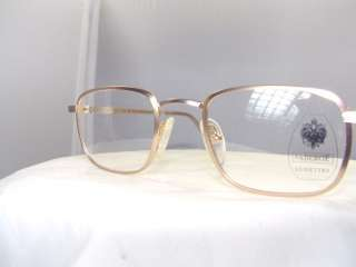 NEW FABERGE DARK GOLD WITH SILVER SQUARE EYEGLASS FRAME