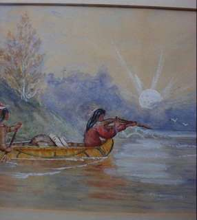 Vintage Watercolor Painting Native Indian Braves Hunting Canoe