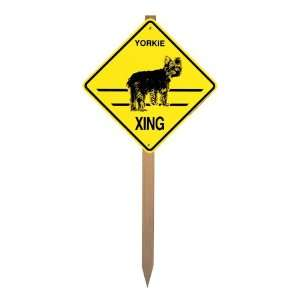 Yorkie   puppy cut Xing Caution Crossing Yard Sign on a