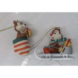 Disney Christmas Ornaments Set of 2 Chip & Dale