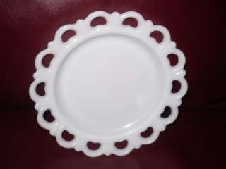 Vintage Opaque Milk White Depression Era Glass Lattice Scalloped Plate