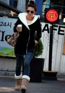 New Korea Fashion Lady Hoodie Warm Zip Up Fleece Long Sweatshirt Coat