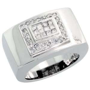 14k White Gold Mens Diamond Ring, w/ 0.75 Carat Brilliant