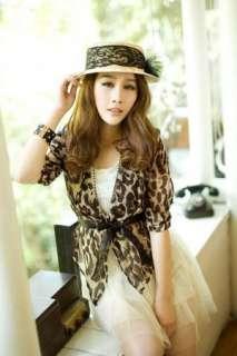 Leopard Print Shirt Half sleeve Tops Chiffon Blouse Tee Ponchos