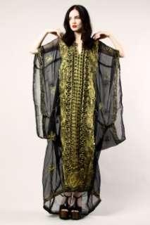 KHALEEJI CAFTAN Vtg Sheer Ethnic Metallic Embroidery Maxi Dress Gypsy