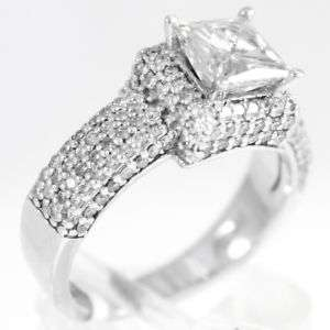 6mm Princess Cut Moissanite Engagement Ring 14K White Gold more than 1