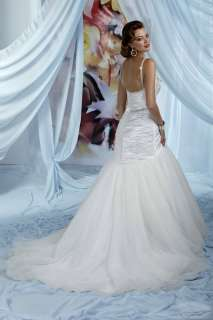 Custom Jewels Beaded Ruched Bridal Wedding Gown 10004