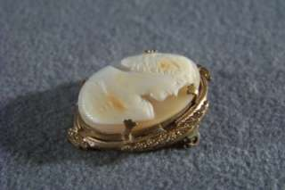 ANTIQUE YELLOW GOLD FANCY RARE ROMAN CAMEO PIN BROOCH