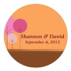 Large Personalized Modern Round Tree Wedding Favor Sticker