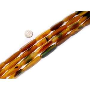 11x40mm faceted triangle yellow green gemstone agate beads