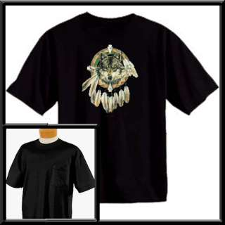 Spirit Of The Wolf Dreamcatcher Native American Indian T Shirt S XL,2X