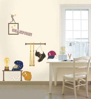 BASEBALL KIDS ROOM Adhesive Removable Wall Decor Accents Sticker Decal